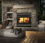 Osburn Stratford Wood Fireplace w/Faceplate and Black Door Overlay
