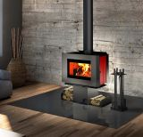 Soho Wood Stove w/Red Enameled Side Panels and Two Sided Pedestal