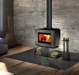 Soho Wood Stove w/Black Side Panels and Two Sided Pedestal
