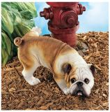 Design Toscano QL6324 Good Dog Gone Bad Peeing English Bulldog
