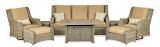 Rome Platinum 8-Piece Fire Deep Seating Group-Canvas Heather Beige