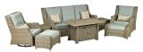 RMPDSG8S Rome Platinum 8-Piece Fire Deep Seating Group-Canvas Spa