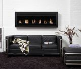 Square XL I 6 Burners Wall Mounted Black Fireplace w/ Glass
