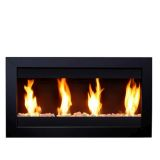 Square Large I 4 Burners Wall Mounted Black Fireplace w/Glass
