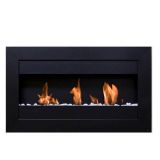 Square Small I 3 Burners Wall Mounted Black Fireplace w/Glass