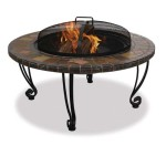 Wood Burning Fire Pit With Slate Ledge And Copper Accents Model WAD820SP